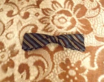 Vintage Striped Clip On Bowtie