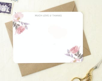 Wedding Thank You. Thank You Cards for Wedding Shower. Thank You Card Set. Floral Thank You Card. Boxed Card Set. Blank Wedding Card Set.