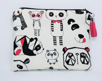 Coin purse / pouch cotton pandas!