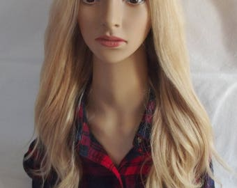 Human remy hair wig- U part 3/4 clip in hair addition, blonde mix 27/613, 18 inches long, XS/S/M/L/XL