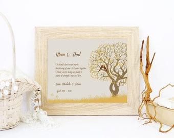 50th Anniversary Gift Golden Anniversary Gift Personalized Wedding Anniversary Art Print Family Tree