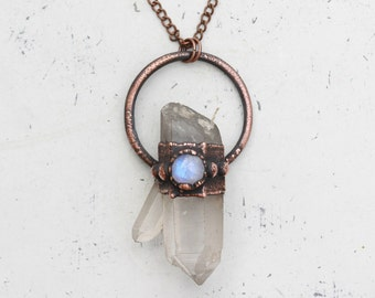 Large Electroformed Natural Raw Quartz Crystal Point Necklace Moonstone Hoop Bohemian Pendant Electroformed In Organic Aged Copper