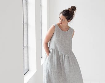 Smock linen dress / Loose linen sleeveless summer dress / Washed and soft linen dress in small checks / Maxi linen dress