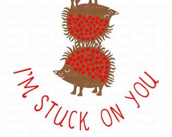 Hedgehog valentine stuck on you/svg/png/dxf cricut/silhouette digital cut file/svg cut/hedgehog svg/valentine svg/heart svg/valentine/HTV