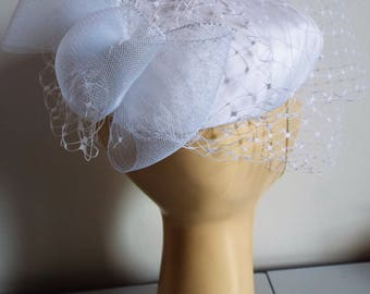 RESERVED Vintage Ladies 1970's White Burlesque Style Haat with full veiling and large Bow on back