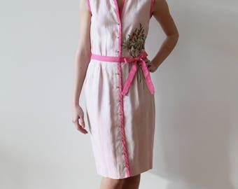 Vintage 1950s - 60s Pink Cotton Dress with Floral Bouquet embroidery