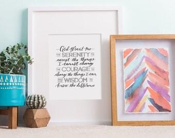 serenity prayer hand lettered print // christian art print // serenity prayer sign // god grant me the serenity