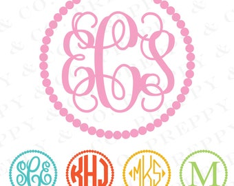 BOGO Pearl Monogram Vinyl Decal - 1 Color - Choose from 19 colors in various sizes and fonts