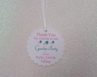 """GARDEN PARTY Favor Tags *Garden Theme Birthday Party Tags *Garden Thank You Favor Tags *2.5"""" Scallop * Twins, Triplets Garden Birthday Party"""