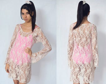 TRANSPARENT LACE DRESS -floral, rose, pink, nude, cute, flared long sleeve, sexy, beachwear, festival, boho, party-