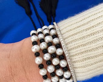 Alijuna double wrap bracelet with fresh water pearls and onyx.