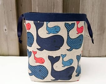 Whale Print Linen Knitting Bag, Sock Knitting Bag, Knitting Tote, Sock Project Bag for two at a time sock knitting - Small Socksack