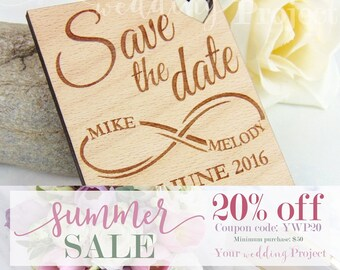 SALE 20% OFF - Infinite Save the Date Magnet, Custom Engraved Wood Save the Date, Rustic Save the Date, Wedding Favors, Wedding Invitation
