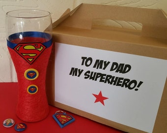 Superman Glass. Superman Gift with Box. Superhero Gift. Gift For Dad. Superman Keepsake Glass. Superman Gift