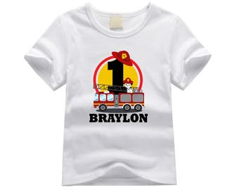Personalized first birthday shirt. 1st birthday shirt. ANY AGE!! Firetruck birthday theme. Fire engine birthday shirt. Fire truck birthday