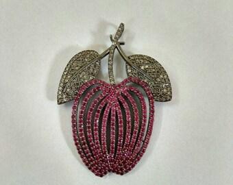 925 Sterling silver diamond ruby & Black-Rhodium Pendant Free Shipping