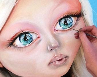 Big Eyes Painting, Big Eyes Art, Blue Eyes painting, Blue eyes art, Original Woman Face Art, realism portait, Original Painting on Canvas JO