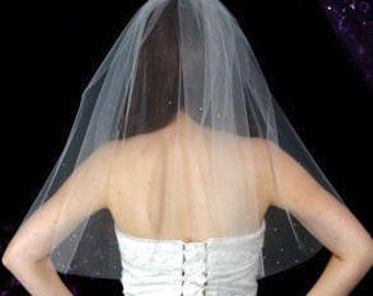 One Tier Elbow Length Plain Cut Diamante Encrusted Wedding Veil Bridal