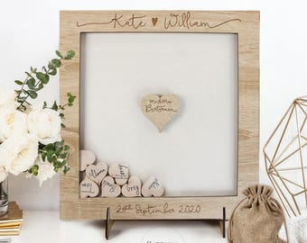 Classic Natural Oak Rustic Elegant Alternative Personalised drop box Oak frame Wedding Guest Book with Hearts and Burlap Pouch Frame