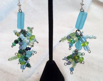 Long Blue and Green Dangle Earrings