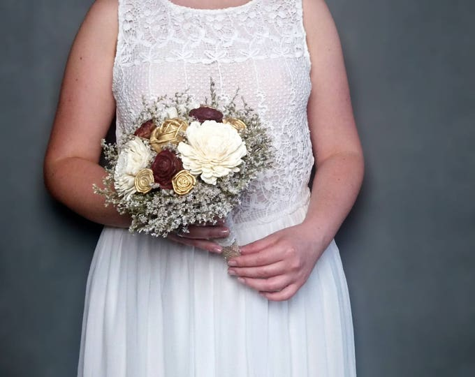 Medium burgundy ivory gold rustic wedding BOUQUET sola Flowers dried limonium lace vintage fall bridal maid of honour elegant