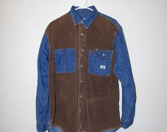 90's CK DENIM + CORDUROY button up long sleeve shirt size large