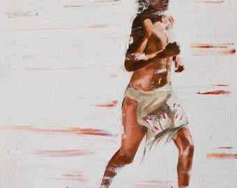 """Native American, Oil on Canvas, Titled """"Velocity"""" From the Vanishing Series, By Del Curfman, #1167"""