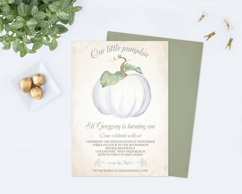 WHITE PUMPKIN INVITATION Template, Our Little Pumpkin, Pumpkin ...