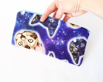 Cat Lover Gift. Bachelorette Gift.GALAXY CATS Pouch. Cat in Space. Cute Cat Pouch. Simple Cat Bag. Gift for Friend. Cat Bag. Galaxy Cat Bag.