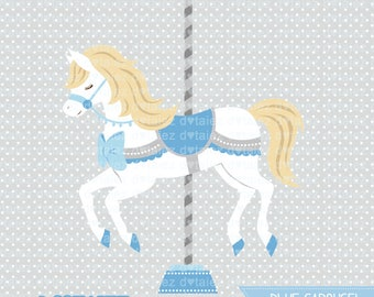 Carousel clipart, BLUE Carousel, baby carousel, cute horse, baby horse