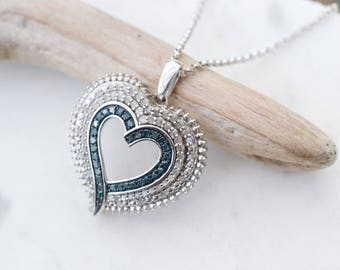 Big Sterling Silver Blue and White Diamond Heart Necklace, Blue Diamond Necklace, Blue Diamond Heart, Diamond Heart Necklace
