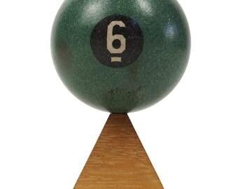 "No. 6 Pool Ball Clay Billiard Ball Size 1 7/8"" Six VI Green Solid Solids"