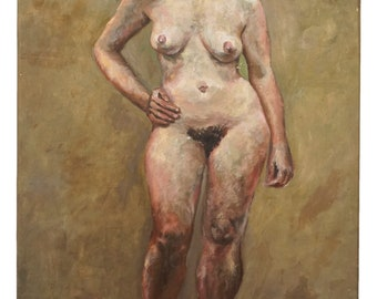 1948 Oil Nude Painting Signed D. Evers Vintage Art Standing Female Model