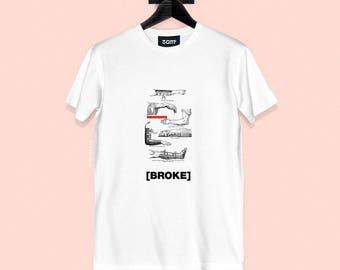 Broke T-shirt - Vintage Illustration - Unisex Streetwear - White or Black - S, M, L, XL, XXL | Made to Order |