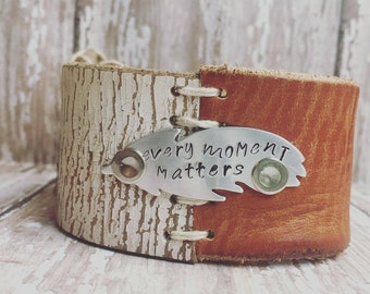 "The ""Every Moment Matters"" Handstamped Leather Cuff"