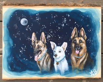Custom Pet Portrait, 1 to 5 pets, acrylic painting on wood, affordable, ready to hang, unique gift
