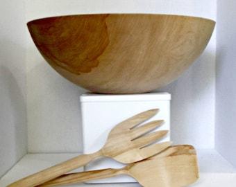 "15"" Wood Salad Bowl,Wood Bowl and Spoons,Alaska Wooden Bowl,Large Wood Bowl, Wood Salad Bowl,Wood Salad Bowl,Birch Salad Bowl, Wooden Bowl"