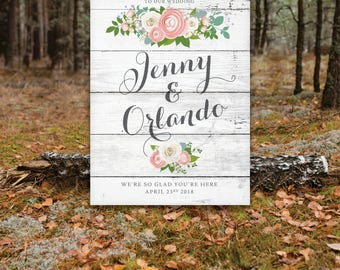 WHITE WASH Wooden Sign Wedding Welcome . Peony Dusty Miller Rose Garland Ranunculus Gray Calligraphy Printed on Paper • Foam Board • Canvas