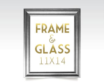 11 x 14 FRAME & GLASS . Gold Wedding Rose Gold Silver White Black Rustic Wood Picture Frame No Glass . 5 x 7in to 24 x 36in sizes available