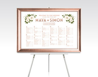 30 x 40 Seating Chart & Frame . ROSE GOLD Solid Maple Wood White Rose Peony Leaf Garland Wedding Silver Rustic Wood . Ready to Hang Hardware