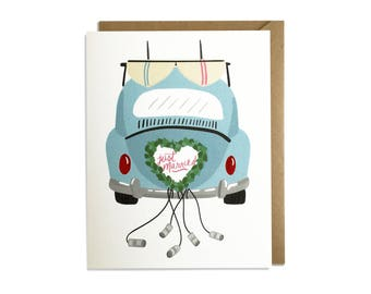 Wedding Card - Sweet, Beatle, Surf, Beach, California, Florida, Ocean, Car