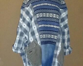Loose Fitting Flannel  Sweater, One Size Flannel Kaftan, Upcycled Jacket, Boho Style, Plus Size Clothing, Upcycled Clothing by OlliesShimono