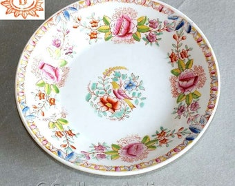 Antique Victorian 19th Century Handpainted Dove love Bird and Floral Decorated Bowl 19.5cm Diameter c.1870's / 80's