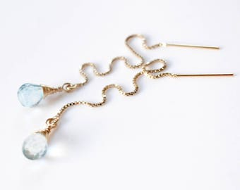 Gold Aquamarine Earrings, Sterling Silver, Rose Gold Threader Earrings, Wire Wrapped Stone Earrings, Long Chain Earrings, March Birthstone