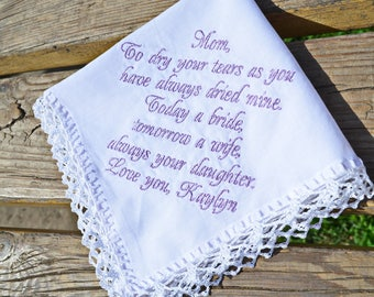 Gift for mother of the bride Handkerchief for mother of the bride Gift for mother from the Bride Personalized wedding Hanky Custom order