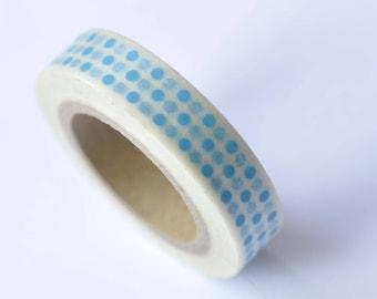 Skinny Washi Tape Blue Polka Dots Masking Tape 10mm x 10M Roll No.12735