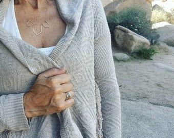 Modern geo necklace/ sterling silver / Gold filled / bib / handmade / hammered / gift