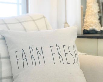 Farm Fresh Farmhouse Pillow Cover | Farm Fresh Pillow Cover | Farmhouse Throw Pillow | Modern Farmhouse Decor