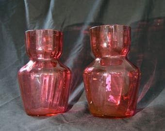 Antique 200 Year Old Cranberry Glass Vase Pair England 1830s  - PP318