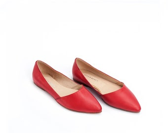 Handmade Leather Shoes / Red Women's Shoes / Flat Shoes / Pointed Toe Flat Shoes / Slip On Shoes / Summer Shoes / Evening Shoes - Barcelona